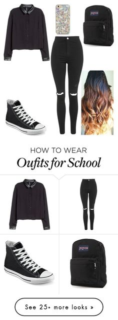 """""""School """" by angelluvsluke on Polyvore featuring Topshop, H&M, Converse and JanSport"""