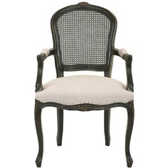 Safavieh Mckenna Arm Chair Taupe With Silver Nailheads (€325) ❤ liked on Polyvore featuring home, furniture, chairs, dining chairs, kitchen & dining room chairs, safavieh chairs, safavieh armchair, safavieh furniture, mocha chair and safavieh