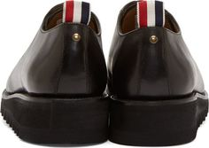Thom Browne Black Leather Zig Zag Sole Oxfords