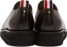 Thom Browne Black Leather Zig Zag Sole Oxfords