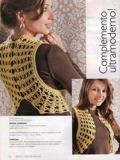 Such original crochet yet so easy! - make two circles with a hole each for the arms and join them at the back - with lay out and diagram!