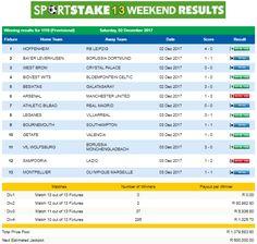 #SportStake13 Weekend Results - 02 December 2017  https://www.playcasino.co.za/sportstake-13-weekend-results-02-december-2017.html
