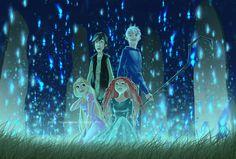 Glow by Hubedihubbe on deviantART - The Big Four Fan Art - Rapunzel, Merida, Jack Frost, and Hiccup. Dreamworks Animation, Disney And Dreamworks, Disney Pixar, Disney Ships, Rapunzel, Disney Crossovers, Disney Movies, Disney Stuff, Jack Frost