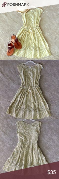 Anthropologie Meadow Rue Dress Anthropologie Meadow Rue Kanza Eyelet Dress. Pale green stripes with special eyelet detail. Tie waist. Pullover Styling. Detachable cotton slip underneath. 100% cotton. Worn twice and in Excellent Condition. Size 4 Accessories not included. meadow rue Dresses Midi