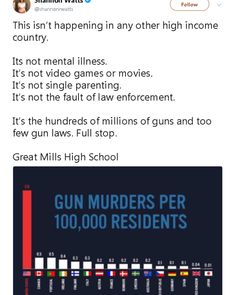 Let me just... The issue is not the fucking guns, it's the people that are fucked up. Other countries have guns, they have the resources to be as destructive and slaughter each other. It's the stupidly, the mentality of idiots that no matter what law gets enforced, will somehow find a way to be destructive. Take away the guns and they'll just move on to something worse.