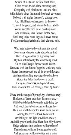 An analysis of the powerful poem to autumn by john keats