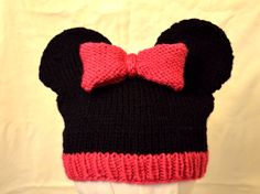 Knitted Minnie Mouse Hat Pattern : Mickey and Minnie Mouse Knit Hat pattern by Cynthia Diosdado Hats, At the t...