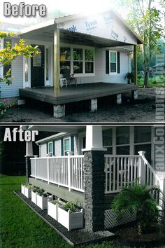 Patio Columns Wraps | Porch design changes shown in before-and-after photos of stacked stone ...