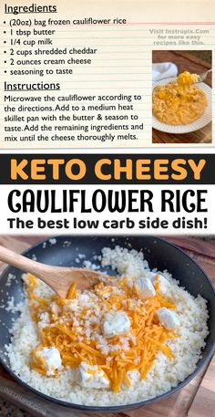 Easy Cheesy Cauliflower Rice - Instrupix Veggie Recipes Healthy, Healthy Meal Prep, Healthy Cooking, Vegetable Recipes, Cauliflower Side Dish, Frozen Cauliflower Rice, Cheesy Cauliflower, Veggie Side Dishes, Side Dish Recipes
