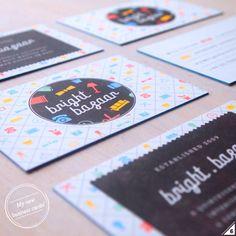 Bright.Bazaar's business cards, graphic design, visual identity, patterns, vintage, retro