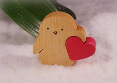 Penguin Wooden penguin carrying love little by WoodMetamorphosisUK