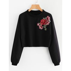 SheIn(sheinside) Rose Embroidered Applique Sweatshirt (3.919 KWD) ❤ liked on Polyvore featuring tops, hoodies, sweatshirts, black, stretchy long sleeve tops, embroidered top, long sleeve tops, round neck sweatshirt and long sleeve sweatshirts