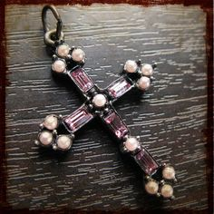 Antique French Religious Crucifix pendant with by frenchfeelings, $28.00 Sign Of The Cross, Religious Cross, Crucifix, Crosses, Old And New, French Antiques, Beaded Bracelets, Bear, Pendant