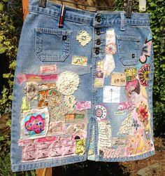 denim hippie jean skirt recycled patchwork applique