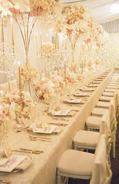 Blush, white and gold wedding reception by Karen Tran | Ted and Li Photography | See more: http://theweddingplaybook.com/luxurious-wedding-reception-inspiration/
