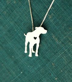 Pit Bull sterling silver necklace hand made por JustPlainSimple