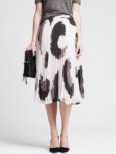 Watercolor Pleated Midi Skirt
