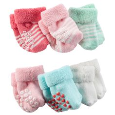 Baby Girl 6-Pack French Terry Booties | Carters.com