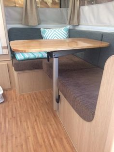 Take a look at these photos of the Lagun in action to see just how versatile it really is Teak Table, Dining Room Table, Camper Life, Camper Van, Caravan Renovation, Small Campers, Diy Rv, She Sheds, Remodeled Campers