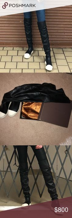 rick owens leather thigh high sock shoes rick owens thigh high sock shoes genuine leather paid $1,013 on ssense size EU 39 fits like 8.5//no low balls//will clean before sent out//has original box and silk dust bags as pictured//offer up Rick Owens Shoes Over the Knee Boots
