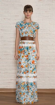 cute!  orange and blue floral maxi dress