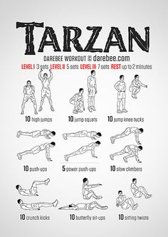 Tarzan Workout - Tap the link to shop on our official online store! You can also join our affiliate and/or rewards programs for FREE! Movie Workouts, Hero Workouts, Gym Workouts, At Home Workouts, Fitness Gym, Physical Fitness, Mens Fitness, Fitness Tips, Fitness Motivation