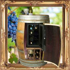Wine Chiller Wood Barrel Cabinet