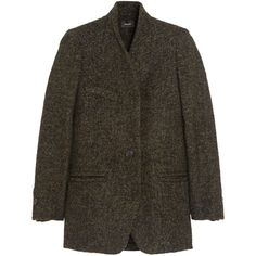 Etta wool-blend tweed coat (€495) ❤ liked on Polyvore featuring outerwear, coats, jackets, coats & jackets, isabel marant, brown coat, isabel marant coat, tweed coat and brown tweed coat