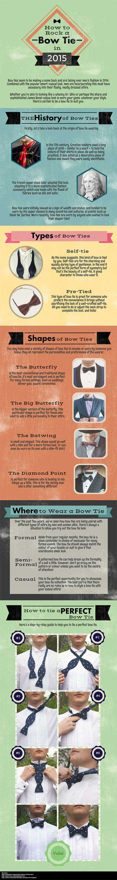 new #infographic about bow ties http://www.cefashion.net/infographic-how-to-rock-a-bow-tie-in-2015 #bowties