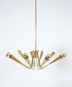 Delicate Austrian Spider, Sputnik Brass Chandelier image 4