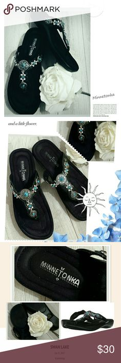 Minnetonka Black Boca sandals Minnetonka black boca sandals size 6. Soft suede bed, rubber soles, silver metal with turquoise stones, and rhinestones. Leather upper thong straps. Minnetonka Shoes Sandals