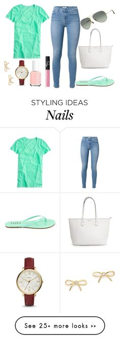 """( OOTD )"" by thebeauty26 on Polyvore featuring J.Crew, 7 For All Mankind, Tkees, Ray-Ban, Kate Spade, FOSSIL, NARS Cosmetics and Essie"