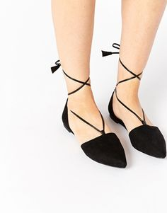 ASOS LIFT OFF Pointed Lace Up Ballet Flats