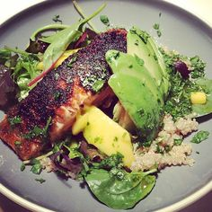 yesterdays #salmon #avocado #quinoa #mango salad with honey-lime dressing. Inspired by #halfbakedharvest