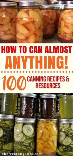 Looking for canning recipes? Get a huge list of over 100 food preservation recipes and resources to fill your homestead pantry! #canning