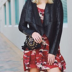 Burgundy print and textured leather jacket