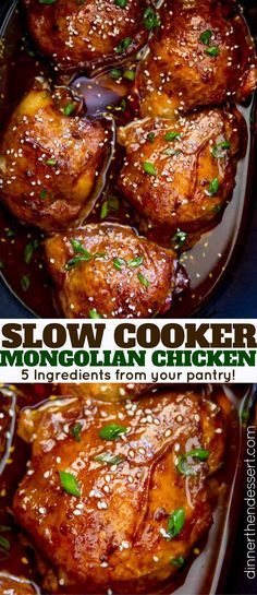 Slow Cooker Mongolian Chicken is a set it and forget it five ingredient recipe t. Slow Cooker Mongolian Chicken is a set it and forget it five ingredient recipe that is sweet, spicy, and full of garlic and ginger flavors! Slow Cooker Desserts, Slow Cooked Meals, Crock Pot Slow Cooker, Crock Pot Cooking, Cooking Recipes, Healthy Recipes, Crock Pots, Meal Recipes, Cooking Ideas