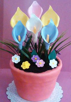 flower pot cake love the cala lilies