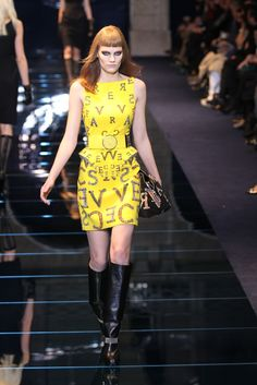 Brite as it gets ... Leather dress. Versace RTW Fall 2012 - Milan Photo by Piero Cristaldi/WWD