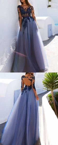 02c5b533ba Bateau Appliqued Tulle Blue Prom Dress with Long Sleeves