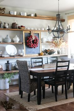 Love the look of these full-wall rustic display shelves from Wood Grain Cottage (tutorial on DIY board)