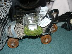 Vintage skate turned into a conversation piece & candle holder. Votive glass candle cup, moss, very cute! Recycle, Reuse, Upcycle, Repurpose. Found art!  Find your treasure at Scranberry Coop