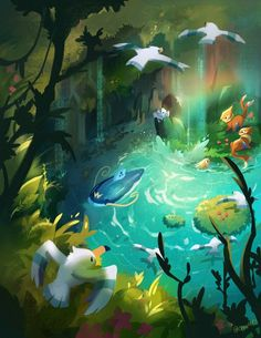 Lagoon - Pokémon Pokemon Comics, Pokemon Fan Art, All Pokemon, Pokemon Stuff, Water Type Pokemon, Pokemon Fusion, Pokemon Cards, Pokemon Images, Pokemon Pictures