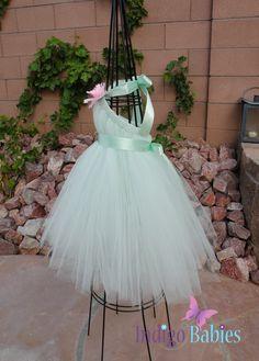 Tutu Dress Flower Girl Dress Mint Green Tulle Mint by indigobabies, $55.00