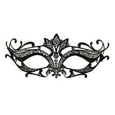 Black Metal Venetian Crown Top Mask