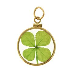 Four Leaf Clover in Glass 14k Gold Charm