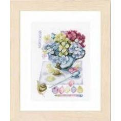 Borduurpakket Hortensia van lanarte pn-0154329 aida van marjolein bastin