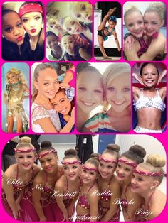"""All the girls from Dance Moms on Lifetime collage. They are all beautiful and amazing dancers. I love them all! Nia, Paige, Chloe, Brooke, Maddie, and Kenzie. (Follow my """"Dance Moms"""" board at hahaH0ll13)"""