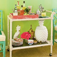 Bar cart extravaganza via The Glam Pad: Southern Living Goes Palm Beach Chic: I want this cart!!
