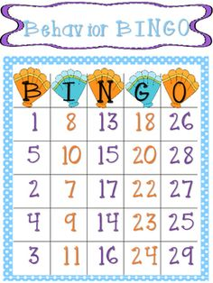 Behavior Bingo is a great classroom management tool. Each time your whole class does something good (Ex: Follow directions the first time) teacher draws a number and then covers that number on the BINGO board. Once a column is covered the class has earned that reward for that column.